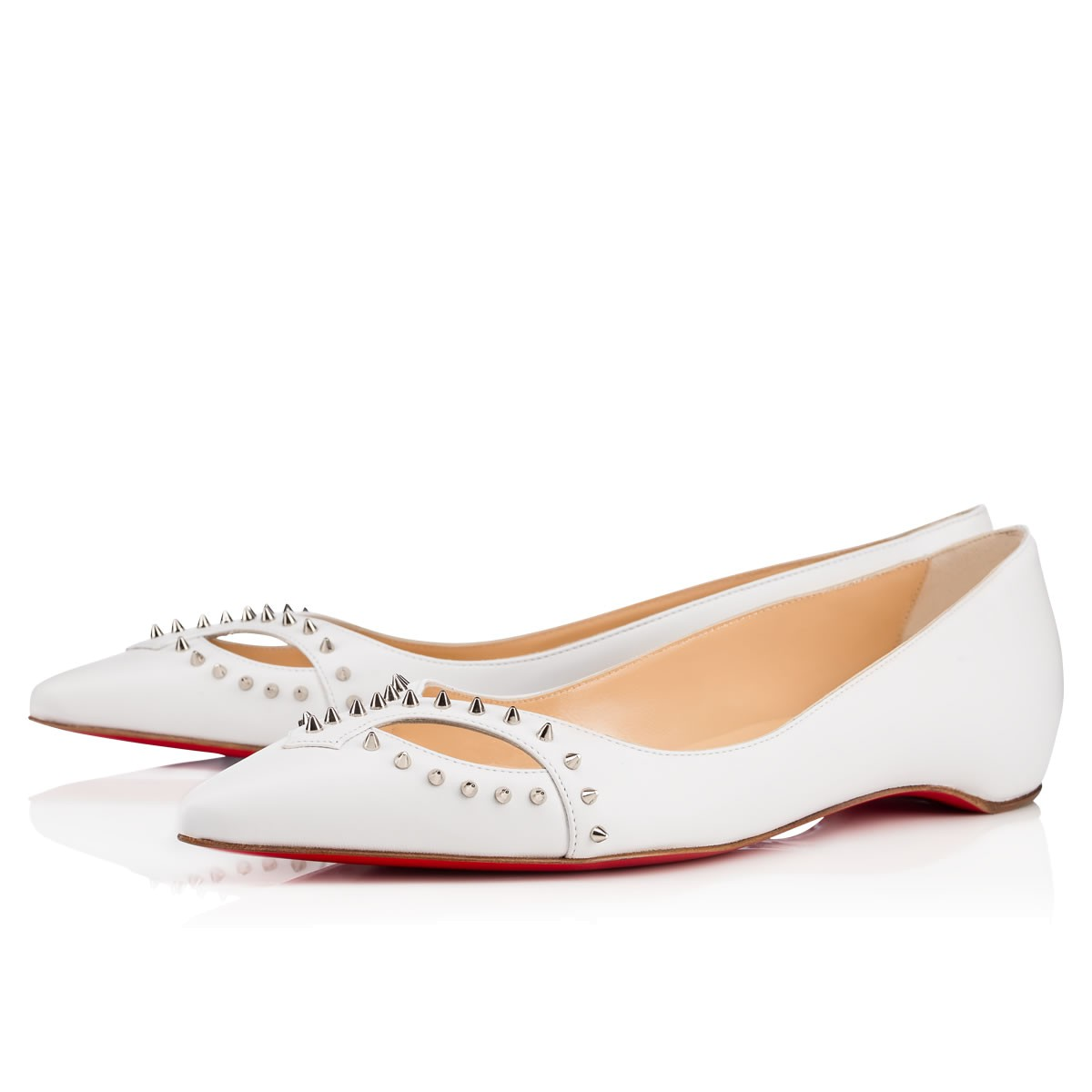 Catch Mex Flat White/Silver Leather - Women Shoes - Christian Louboutin